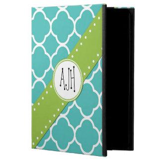 Monogram - Quatrefoil Shape - Blue White Powis iPad Air 2 Case