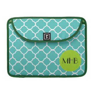 Monogram - Quatrefoil Shape - Blue White MacBook Pro Sleeve