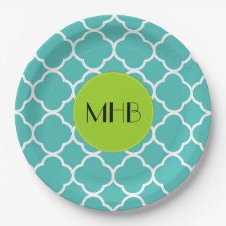 Monogram - Quatrefoil Shape - Blue White Paper Plate