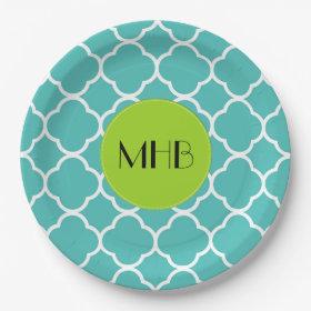 Monogram - Quatrefoil Shape - Blue White 9 Inch Paper Plate