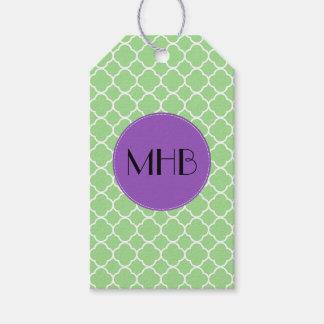 Monogram - Quatrefoil Shape - Green White Pack Of Gift Tags