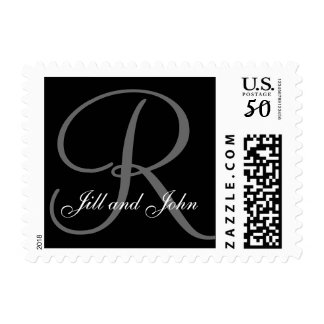 Monogram R and First Names Postage Black and Grey