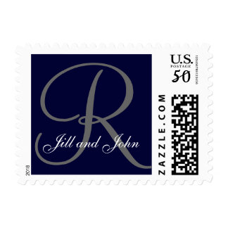 Monogram R and First Names Postage Navy