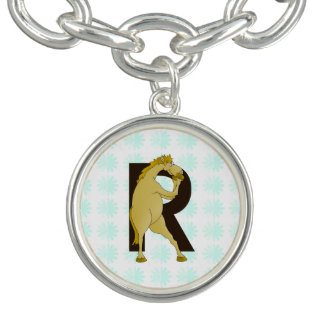 Monogram R Cartoon Pony Customized Charm Bracelet