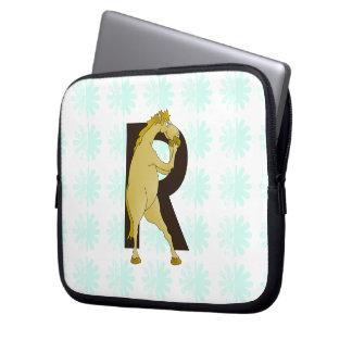 Monogram R Cartoon Pony Customized Laptop Sleeve