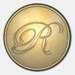 monogram_r classic round sticker