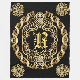 Monogram R CUSTOMIZE To Change Background Color Fleece Blanket