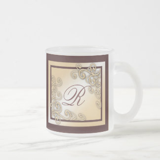 Monogram 'R' Frosted Glass Mug