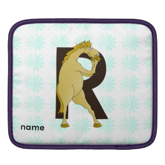 Monogram R Funny Pony Personalised iPad Sleeve