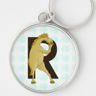 Monogram R Funny Pony Personalised Silver-Colored Round Keychain