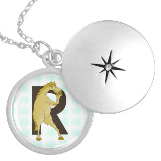 Monogram R Funny Pony Personalised Locket Necklace