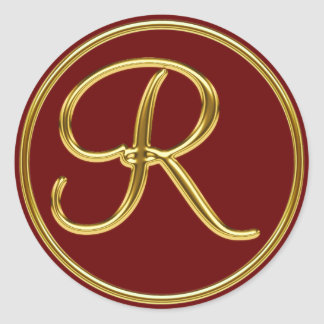 Monogram R in 3D gold Classic Round Sticker