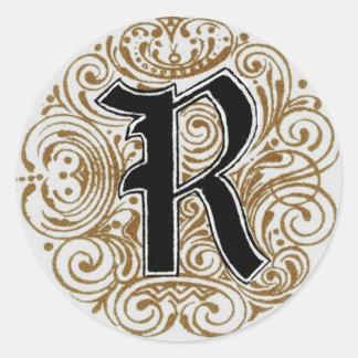 Monogram 'R' in Gold - Sticker