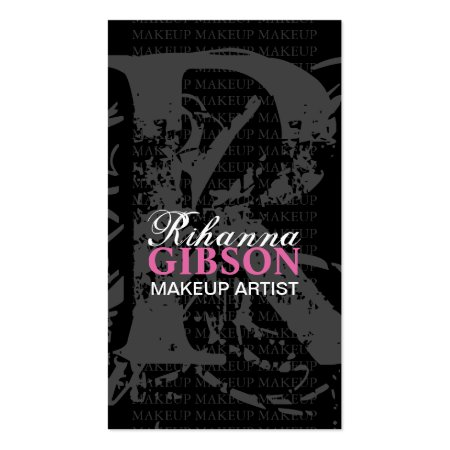 Gray Monogram on Black Background Pink Lips Makeup Artist Business Cards