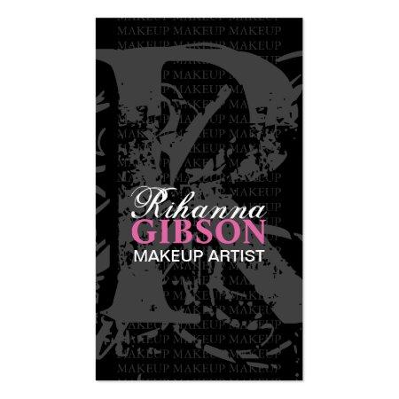 Gray Monogram on Black Background Pink Lips Makeup Artist Business Cards