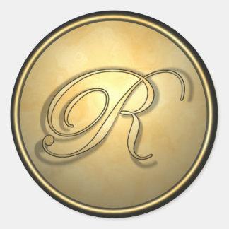 monogram_r pegatina redonda