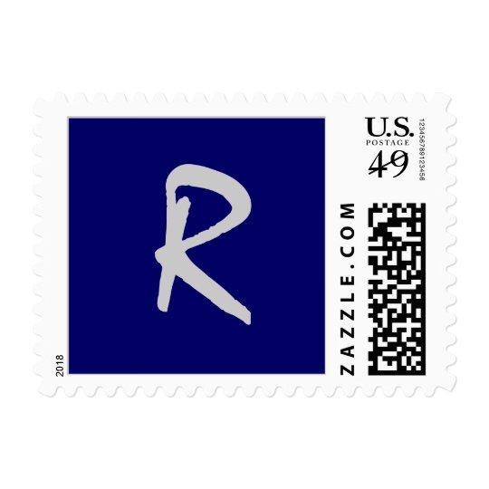 "Monogram ""R"" Postage Stamp (Square Size) Navy"