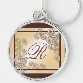 Monogram 'R' Premium Round Large  Keychain