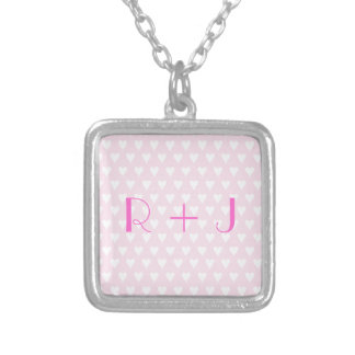 Monogram R sweethearts initials pink love hearts Square Pendant Necklace