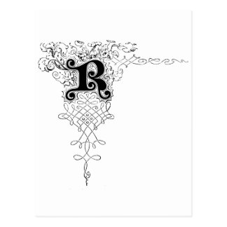 Monogram R with Leaves Postcard