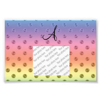 Monogram rainbow anchors polka dots photo print