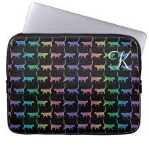 Monogram Rainbow Cats Animal Pattern Laptop Sleeve