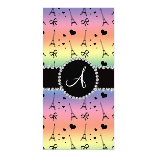 Monogram rainbow eiffel tower pattern photo greeting card