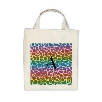 Monogram rainbow giraffe print tote bag