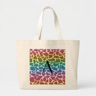 Monogram rainbow giraffe print canvas bags