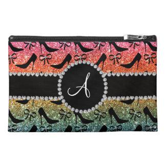 Monogram rainbow glitter black high heels bow travel accessory bag