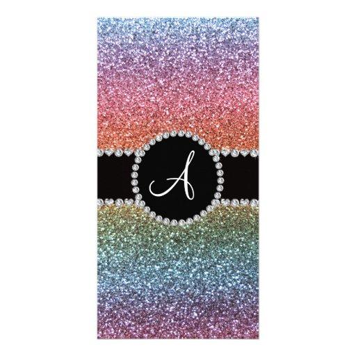 Monogram rainbow glitter diamond black circle photo card