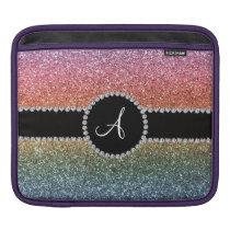 Monogram rainbow glitter diamond black circle sleeve for iPads