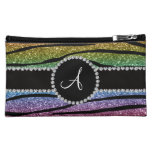 Monogram rainbow glitter zebra stripes circle makeup bag