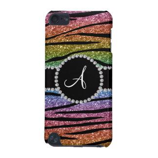 Monogram rainbow glitter zebra stripes circle iPod touch (5th generation) cover