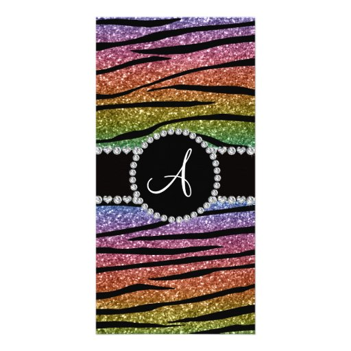 Monogram rainbow glitter zebra stripes circle photo cards