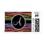 Monogram rainbow glitter zebra stripes circle stamps