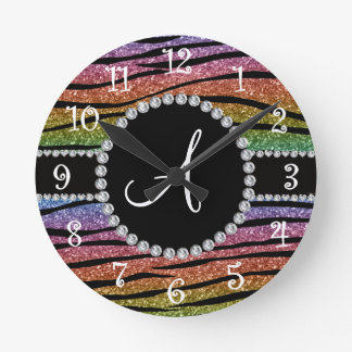 Monogram rainbow glitter zebra stripes circle round clock