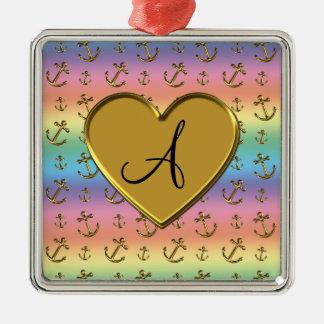 Monogram rainbow gold anchors heart square metal christmas ornament