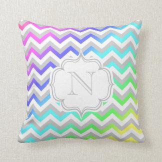 Monogram Rainbow Gradient Colorful Chevron Pattern Pillow