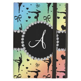 Monogram rainbow gymnastics hearts bows cover for iPad air