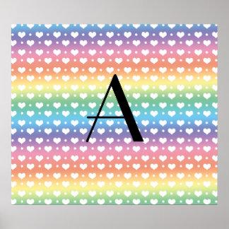 Monogram rainbow hearts polka dots print
