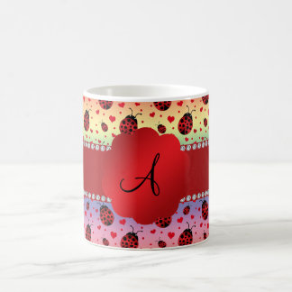 Monogram rainbow ladybugs hearts coffee mug