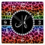 Monogram rainbow leopard print circle square wall clocks