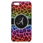 Monogram rainbow leopard print circle iPhone 5C cover