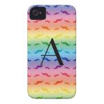 Monogram rainbow mustache pattern iPhone 4 Case-Mate case