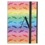 Monogram rainbow mustache pattern iPad folio case