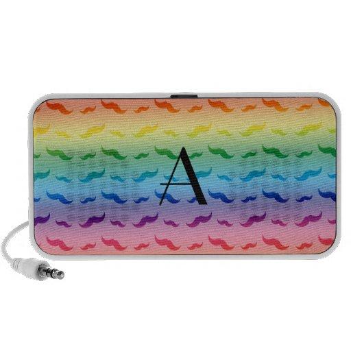 Monogram rainbow mustache pattern laptop speakers
