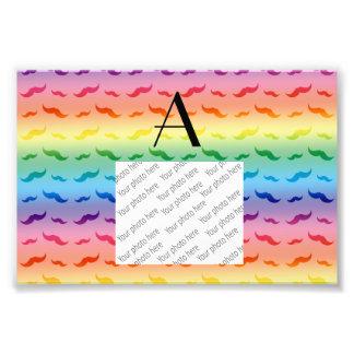 Monogram rainbow mustache pattern art photo
