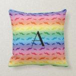 Monogram rainbow mustache pattern pillow