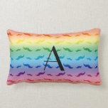 Monogram rainbow mustache pattern pillows